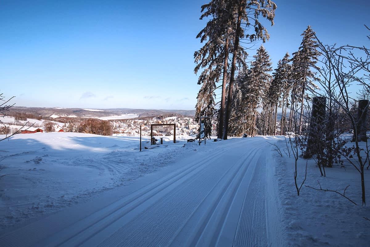 Loipe am Fuß des Adlerfelsen in der Skiarena Eibenstock ©WR